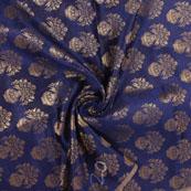 Blue and Golden Brocade Silk Fabric-8887