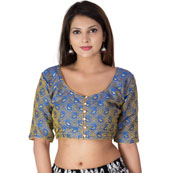 Blue and Golden Elbow Sleeve Silk Brocade Blouse-30189
