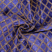 Blue and Golden Embroidery Paper Silk Fabric-60492