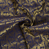 Blue and Golden Floral Brocade Silk Fabric-8557