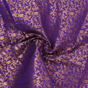 Blue and Golden Floral Brocade Silk Fabric-8942