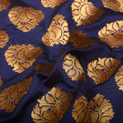 Blue and Golden Floral Design Brocade Silk Fabric-5364