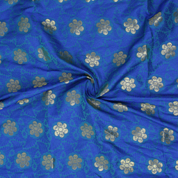Blue and Golden Floral Design Brocade Silk Fabric-8352