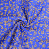 Blue and Golden Floral Pattern Silk Paper Embroidery Fabric-60609