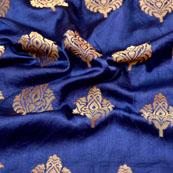 Blue and Golden Flower Design Brocade Silk Fabric-5451