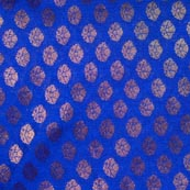 Blue and Golden Flower Pattern Brocade Indian Fabric-4294
