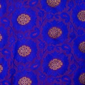 Blue and Golden Flower Pattern Chanderi Fabric-4379