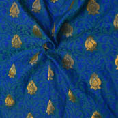 Blue and Golden Folwer Design Soft Brocade Silk Fabric-8116
