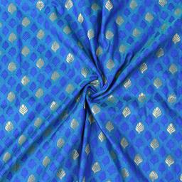 Blue and Golden Leaf Design Brocade Silk Fabric-8338
