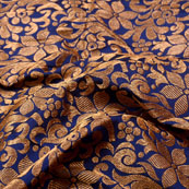 Blue and Golden Leaf Pattern Brocade Silk Fabric-5360