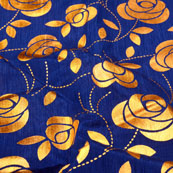 Blue and Golden Leaf Pattern Brocade Silk Fabric-5397
