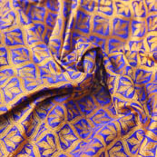 Blue and Golden Leaf Pattern Brocade Silk Fabric-8199