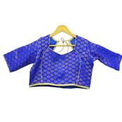 Blue and Golden Leaf Silk Brocade Blouse-30102