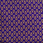 Blue and Golden Multi Drops Design Pattern Brocade Silk Fabric by the yard