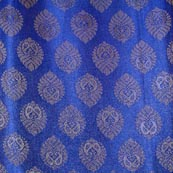 Blue and Golden Paisley Flower Pattern Brocade Fabric-4281