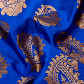 Blue and Golden Paisley Shape Brocade Silk Fabric-5319