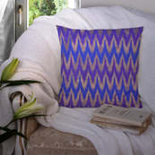 Blue and Golden Silk Cushion Cover-35018