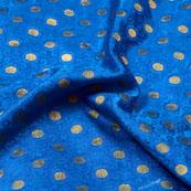 Blue and Golden Small Circular Design Brocade Silk Fabric-5368