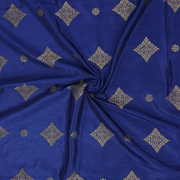 Blue and Golden Square Design On Green Brocade Silk Fabric-8349