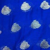Blue and Golden Tree Pattern Chiffon Fabric-4354