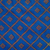 Blue and Golden Triangle Pattern Brocade Silk Fabric by the yard