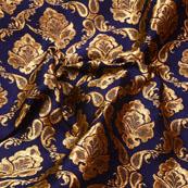 Blue and Golden flower Pattern Brocade Silk Fabric-5336