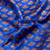 Blue and Golden flower Shape Brocade Silk Fabric-5338