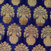 Blue and Golden flower pot brocade silk fabric-4629