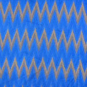 Blue and Golden ikat printed chanderi fabric-4596