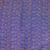 Blue and Golden kalamkari flower shape brocade silk fabric-4695