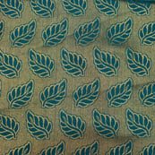 Blue and Golden leaf pattern brocade silk fabric-4983