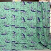 Blue and Mint Green Birds Pattern Kantha Quilt-4353