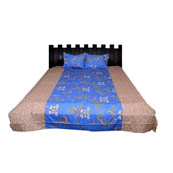 Blue and Peach Printed Cotton Double Bed Sheet-0G84