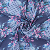 Blue and Pink Flower Silk Crepe Fabric-18135