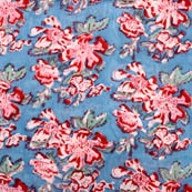 Blue and Pink large flower block print fabric-5199