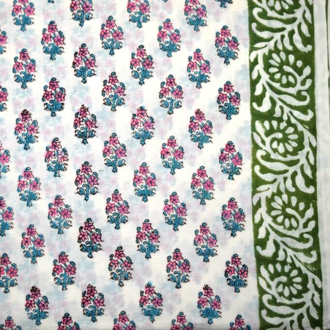 Blue and Purple Flower Block Print Cotton fabric