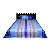 Blue and Purple  Print Cotton Double Bed Sheet -0KG8