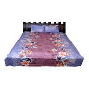 Blue and Purple Printed Cotton Double Bed Sheet-0G16