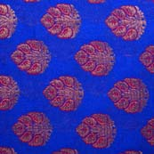 Blue and Red, Golden Leaves Pattern Brocade Silk Fabric by the yard