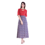 Blue and Red Half Sleeve Frock Style Rayon Kurti-3082