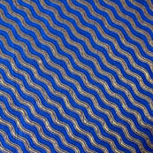 Blue and Silver wave designed brocade silk fabric-4614