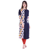 Blue and White 3/4 Sleeve Half Printed Rayon Kurti-3096