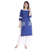 Blue and White  3/4  Sleeve Lace Work Cotton Kurti-3044