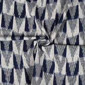 Blue and White 3D Cotton Ikat Fabric-12082