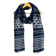 Blue and White Cotton Block Print Dupatta With Pom Pom-33088