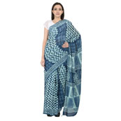 Blue and White Cotton Block Print Saree-20093