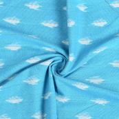 Blue and White Cotton Ikat Fabric-12151