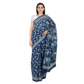 Blue and White Cotton Indigo Block Print Saree-20073