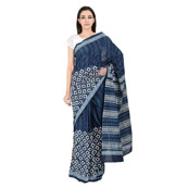 Blue and White Cotton Indigo Block Print Saree-20088
