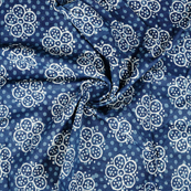Blue and White Floral Design Indigo Cotton Block Print Fabric-14383